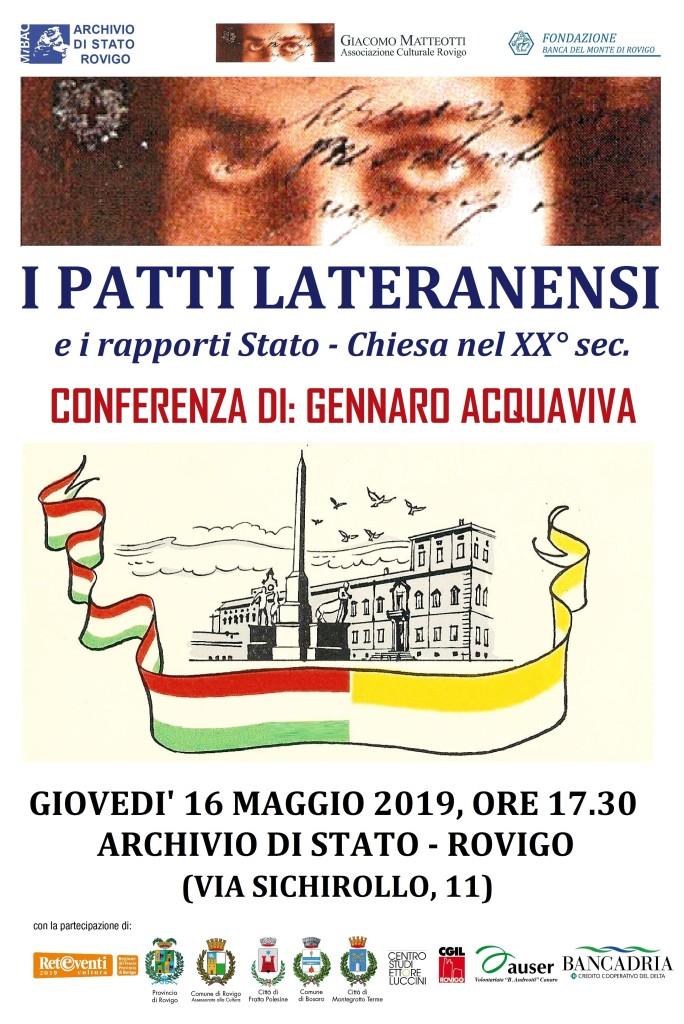 I PATTI LATERANENSI Conferenza di Gennaro Acquaviva Rovigo 16 maggio 2019