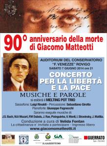 """Locandina concerto 7 giugno 2014 presso l'Auditorium del Conservatorio Statale di Musica """"F. Venezze"""" di Rovigo"""